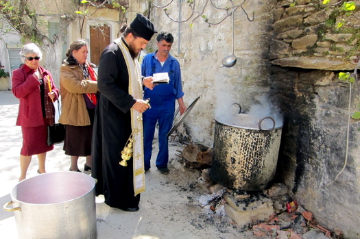 Greek feast: Ikaria priest and cauldron
